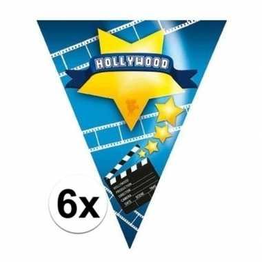 6x vlaggenlijnen hollywood 5 meter