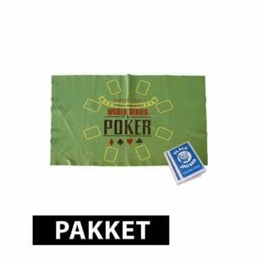 Poker speelmat en 2 pakjes speelkaarten